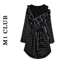 Dress Spring 2021 black M,L,XL,2XL,3XL,4XL Mid length dress singleton  Long sleeves commute Crew neck High waist lattice Socket A-line skirt routine 25-29 years old Type A Korean version Splicing