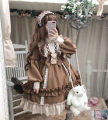 Dress Winter of 2019 S,M,L Mid length dress singleton  Long sleeves Sweet Crew neck middle-waisted Solid color Princess Dress routine Type A bow 81% (inclusive) - 90% (inclusive) Lolita