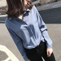 shirt Blue, white S,M,L,XL,2XL Spring 2021 polyester fiber 96% and above Long sleeves commute Regular Polo collar Socket routine Solid color 25-29 years old Straight cylinder Korean version Button