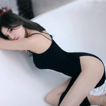 Pajamas / housewear set female Other / other Average size nylon camisole sexy pajamas summer V-neck Solid color Socket youth 2 pieces other Hollowing out Middle-skirt