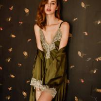Pajamas / housewear set female Other / other M, L White (nightdress), gray (nightdress), green (nightdress), black (nightdress), jujube (nightdress), white (bathrobe), gray (bathrobe), green (bathrobe), black (bathrobe), jujube (bathrobe) nylon camisole sexy pajamas summer Thin money V-neck Socket