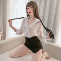Pajamas / housewear set female Other / other Average size Secretary's dress (silk stockings) nylon Long sleeves sexy pajamas summer Shirt collar Solid color Front buckle youth 2 pieces Chiffon One piece Short skirt