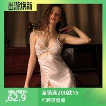 Pajamas / housewear set female Other / other M, L white nylon camisole sexy pajamas summer V-neck Solid color Socket youth 2 pieces silk Hollowing out Short skirt