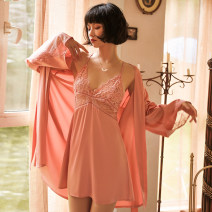 Pajamas / housewear set female Other / other M. L, one size bathrobe Coral powder (nightdress), green gray (nightdress), black (nightdress), white (nightdress), coral powder (robe), green gray (robe), black (robe), white (robe) nylon camisole sexy pajamas summer Thin money V-neck Solid color Socket