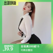 shirt White, white + open socks One size, big size Winter 2020 nylon 30% and below Long sleeves Sweet Super short V-neck Single row multi button shirt sleeve Solid color 18-24 years old Self cultivation Open back, hollow out, button Mori Chiffon