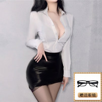 Other suits Autumn 2020 Long sleeve shirt + Black leather skirt , Long sleeve shirt + Red leather skirt , Long sleeve shirt + Black leather skirt + 2 socks , Long sleeve shirt + Red leather skirt + 2 socks S,M,L,XL,XXL 25-35 years old Other / other nylon