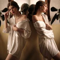 Pajamas / housewear set female Fei Mu Average size white nylon Long sleeves sexy pajamas summer Thin money V-neck Solid color Socket youth 2 pieces silk One piece Short skirt