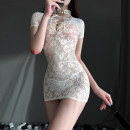 Pajamas / housewear set female Other / other M, L White, black Polyester (polyester) Short sleeve sexy pajamas summer Thin money stand collar Solid color Socket youth 2 pieces Lace fabric Hollowing out Short skirt