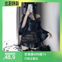 Pajamas / housewear set female Other / other Average size black nylon Long sleeves sexy pajamas summer V-neck Solid color Oblique lapel youth 2 pieces Tether Lace fabric Hollowing out Short skirt