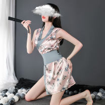 Pajamas / housewear set female Other / other M, L Lotus root powder, white and black nylon Sleeveless sexy pajamas summer Thin money V-neck Solid color Socket youth 2 pieces Composite fabric printing Short skirt