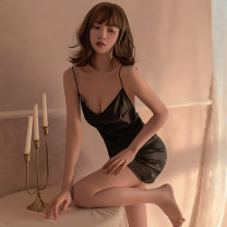 Nightdress Other / other Black, red Suitable for 80-120 Jin sexy camisole pajamas Short skirt summer Solid color youth V-neck One piece other