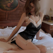 Pajamas / housewear set female Other / other Average size acrylic fibres Sleeveless sexy pajamas summer Thin money V-neck Solid color shorts Socket youth 2 pieces rubber string Lace fabric Hollowing out Short skirt