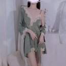 Pajamas / housewear set female Other / other M, L Matcha green suspender nightdress, Matcha green bathrobe nylon camisole sexy pajamas summer Thin money V-neck Solid color Socket youth one-piece garment Lace fabric lace UltraShort