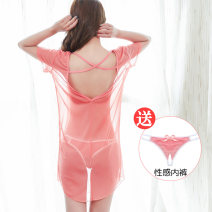 Pajamas / housewear set female Other / other Average size (80-120kg), large size (120-150kg) White, black, watermelon red, lotus root pink, big red nylon Short sleeve sexy pajamas summer Thin money Crew neck Solid color Socket youth 2 pieces Mesh fabric Hollowing out Short skirt
