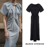 Dress Summer 2020 Light blue, dark grey S,M,L Mid length dress singleton  Short sleeve commute One word collar High waist Solid color zipper Irregular skirt puff sleeve Hanging neck style Type X Old Lady Anne Ol style Folds, stitching, three-dimensional decoration BG202006241102 More than 95% other
