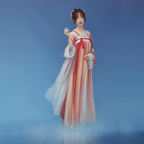 Hanfu 96% and above Summer 2020 Straight necked cardigan, one piece pleated skirt (4.5m swing) polyester fiber