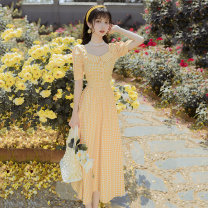 Dress Summer 2020 canary yellow S,M,L,XL Miniskirt Short sleeve Sweet square neck middle-waisted lattice routine Others 18-24 years old