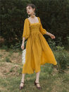 Dress Spring of 2019 yellow S,M,L 9863# 71% (inclusive) - 80% (inclusive) other