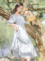 Dress Summer 2020 S,M,L longuette singleton  elbow sleeve commute Loose waist Solid color Socket Type A Retro 7271#