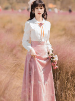 Dress Autumn 2020 White + Pink S,M,L,XL Miniskirt Fake two pieces Long sleeves commute Doll Collar middle-waisted Solid color Single breasted Big swing routine Others 25-29 years old Type A Retro Embroidery, stitching, buttons, zippers eight thousand and ninety-seven #