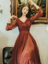 Dress Autumn of 2019 Dark red S,M,L longuette singleton  Nine point sleeve commute V-neck High waist Solid color other Big swing bishop sleeve Others Type A Other / other Retro 1011#