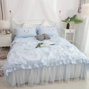 Bedding Set / four piece set / multi piece set cotton Embroidery Cartoon animation 133x72 Huo Siman cotton 4 pieces 40 Light blue, pink, white 1.2m (4 feet) bed, 1.5m (5 feet) bed, 1.8m (6 feet) bed, 2.0m (6.6 feet) bed, 1.8 quilt cover Bed skirt Qualified products Korean style 100% cotton twill