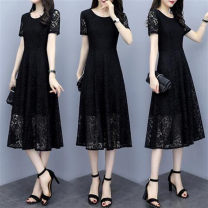 Dress Autumn 2021 Black Crew Neck Lace M,L,XL,2XL,3XL,4XL,5XL longuette singleton  Short sleeve commute Crew neck middle-waisted Decor Socket other routine Others Type A Other / other Korean version Splicing 31% (inclusive) - 50% (inclusive) Chiffon polyester fiber