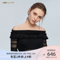Dress Spring of 2019 Black G24 red C27 XS S M L Short skirt singleton  Long sleeves commute One word collar High waist Solid color Socket A-line skirt bishop sleeve Others 25-29 years old Type X Miss sixty lady Auricularia auricula with lotus leaf 691RJ2650000 30% and below other nylon