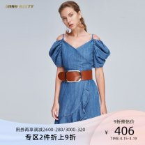 Dress Summer of 2019 Denim F25 XS S M L Middle-skirt singleton  Short sleeve commute V-neck middle-waisted Solid color zipper Irregular skirt puff sleeve Others 25-29 years old Type X Miss sixty lady Open back zipper with ruffles 692DJ0260000 31% (inclusive) - 50% (inclusive) Denim cotton