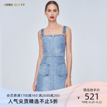 Dress Summer of 2019 Denim F25 XS S M L Short skirt singleton  Sleeveless commute other High waist Solid color zipper One pace skirt other camisole 18-24 years old Type X Miss sixty lady Pocket zipper 692DJ4080000 More than 95% Denim cotton Cotton 100%
