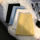 skirt Summer 2021 S M L XL Black white blue yellow pink Short skirt commute High waist A-line skirt Solid color Type A 18-24 years old xsm5101# More than 95% Xinshanmei polyester fiber zipper Korean version Polyester 100% Pure e-commerce (online only)