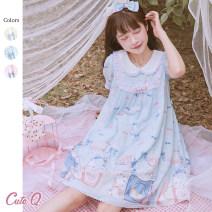 Dress Summer 2020 S,M,L singleton  Sweet Crew neck Hand painted CuteQ Lolita