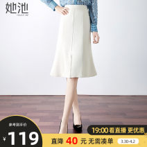 skirt Spring 2021 S M L XL Off white - spot off white - pre sale longuette commute High waist A-line skirt Solid color Type A 25-29 years old T11Z0367B More than 95% Wool She pool polyester fiber zipper Polyester 100%