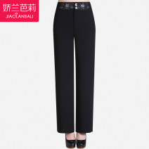 Middle aged and old women's wear Summer 2021 Intellectuality trousers easy singleton  Solid color 40-49 years old thin Gillian Barry Embroidery polyester fiber 91% (inclusive) - 95% (inclusive) zipper trousers