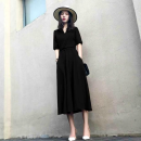 Dress Summer 2020 S,M,L,XL,2XL,3XL,4XL longuette singleton  elbow sleeve commute V-neck High waist Solid color Socket A-line skirt routine Others 18-24 years old Type A Korean version Roman cotton fabric