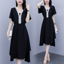 Women's large Summer 2021 black L recommended 100-115 kg, XL recommended 115-130 kg, 2XL recommended 130-145 kg, 3XL recommended 145-160 kg, 4XL recommended 160-175 kg, 5XL recommended 175-195 kg Dress Fake two pieces commute Self cultivation thin Socket Short sleeve Solid color Korean version V-neck