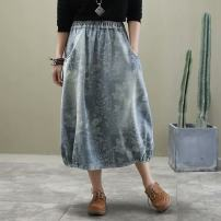skirt Spring 2020 Average size Light blue, dark blue Mid length dress commute High waist Denim skirt Decor Type O 51% (inclusive) - 70% (inclusive) Denim Other / other cotton Pocket, print ethnic style
