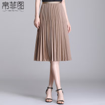 skirt Spring 2021 20/M 21/L 22/XL 23/XXL 24/3XL 25/4XL Black yellow brown blue white green Mid length dress commute High waist Pleated skirt Solid color Type H 25-29 years old B21DQ21112C More than 95% Bofitu polyester fiber fold Polyester 100%