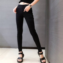 Casual pants Black (without velvet), black (with velvet) 1 / 26, 2 / 27, 3 / 28, 4 / 29, 5 / 30, 6 / 31 Autumn of 2019 trousers Pencil pants High waist Versatile thickening 51% (inclusive) - 70% (inclusive) Santa Anastasia other pocket