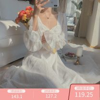 Dress Spring 2020 Young girl apricot, elegant white XS,S,M,L,XL longuette singleton  Long sleeves Sweet square neck High waist other Socket Big swing pagoda sleeve Others 18-24 years old Type X Fungus, splicing 51% (inclusive) - 70% (inclusive) other polyester fiber