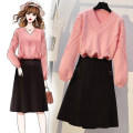 Women's large Spring 2020, autumn 2020 Pink sweater + black skirt, yellow sweater + Caramel skirt, yellow sweater + black skirt Two piece set commute easy Socket Long sleeves Solid color Korean version V-neck routine Wool, polyester, cotton Three dimensional cutting routine Other / other pocket other
