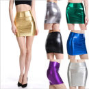 skirt Summer of 2019 M,L,XL,2XL Gold, silver, black, green, purple, gun grey Short skirt sexy High waist skirt Solid color Yt220 Yutong 71% (inclusive) - 80% (inclusive) Other / other PU