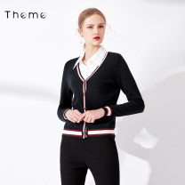 Wool knitwear Autumn of 2019 S/155 M/160 L/165 black Long sleeves singleton  Cardigan acrylic fibres 31% (inclusive) - 50% (inclusive) Regular routine commute Self cultivation V-neck routine Single breasted lady 25-29 years old Theme Pure e-commerce (online only)