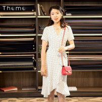 Dress Autumn 2020 Red, black, white S/155 M/160 L/165 XL/170 Mid length dress singleton  Short sleeve commute V-neck High waist other Ruffle Skirt routine Others 30-34 years old Type X Theme lady Lace up WD-014 More than 95% other Viscose (viscose) 100% Pure e-commerce (online only)