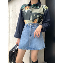 skirt Spring 2021 S,M,L,XL Blue, white Short skirt Versatile High waist Denim skirt Solid color Type A 18-24 years old More than 95% Denim TTH WAWA cotton Button 251g / m ^ 2 (including) - 300g / m ^ 2 (including)