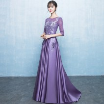Dress / evening wear Weddings, adulthood parties, company annual meetings, daily appointments XS S M L XL XXL customized and non refundable violet Korean version longuette middle-waisted Winter 2017 Fall to the ground U-neck Bandage 18-25 years old elbow sleeve flower Solid color routine Other 100%