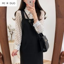 Dress Autumn of 2019 black S,M,L,XL Mid length dress singleton  Sleeveless commute One word collar High waist Solid color zipper One pace skirt routine straps 18-24 years old Type H Korean version straps NRJ516--8261 51% (inclusive) - 70% (inclusive) other acrylic fibres