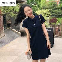 Dress Summer 2020 Navy Blue S,M,L,XL Mid length dress singleton  Short sleeve commute Polo collar High waist Solid color Three buttons other routine Others 18-24 years old Other / other Korean version Button 51% (inclusive) - 70% (inclusive) cotton