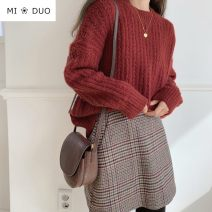 skirt Winter of 2019 S,M,L,XL Picture color Short skirt commute High waist A-line skirt lattice Type A 18-24 years old 51% (inclusive) - 70% (inclusive) Wool Other / other other zipper Korean version
