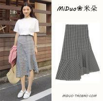 skirt Summer of 2018 S,M,L,XL Black and white check commute High waist Irregular lattice Type A 18-24 years old brocade Other / other other Korean version